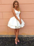 Criss Cross Tiered White Short Homecoming Dress