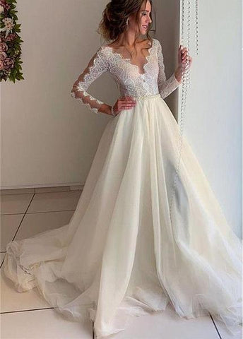 Bateau Long Sleeves A-line Tulle Lace Appliques & Belt  Wedding Dress