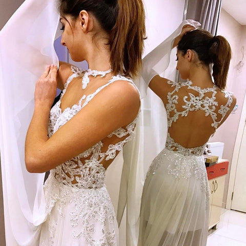 Illusion Jewel Open Back Chiffon Wedding Dress with Appliques