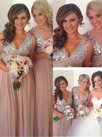 V-neck Sleeveless With Sequin Bridesmaid Dresses