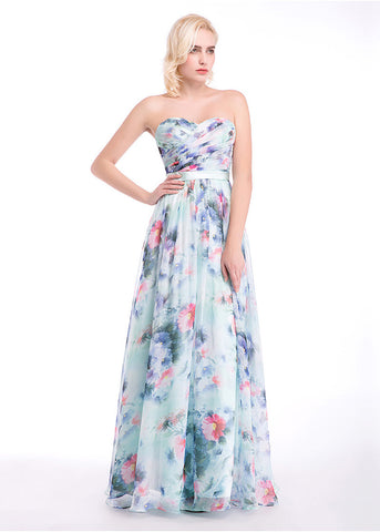 Attractive Floral Chiffon Sweetheart Neckline A-Line Prom Dresses