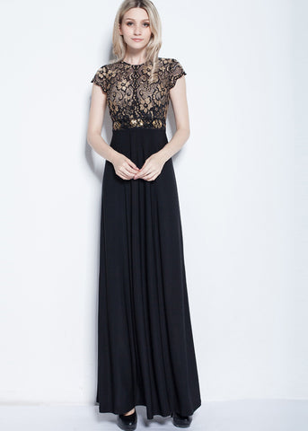Fabulous Lace & Stretch Chemical Fiber Jewel Neckline A-Line Evening Dress
