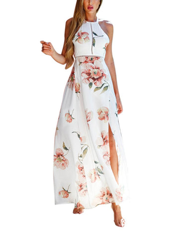 White Sexy Split Floral Off-shoulder Beach Party Maxi Dress