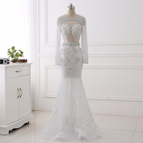 Mermaid Luxury Hollow Diamond White Dress