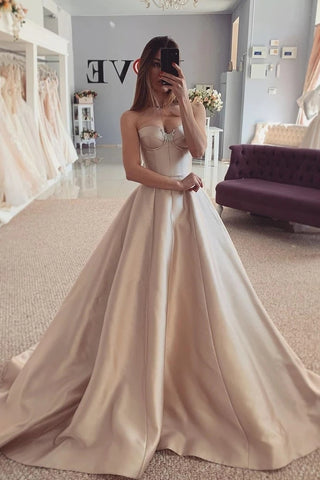 Satin Beading Sweep Train Champagne Sweetheart Prom Dress
