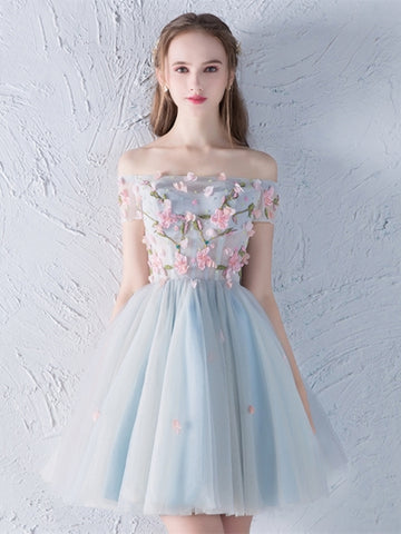 Flowers Appliques Beading cute Homecoming Dress
