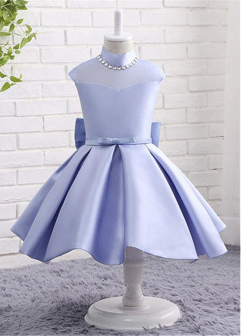 Modern Organza & Satin High Collar Neckline Ball Gown Flower Girl Dresses With Bowknot & Beadings