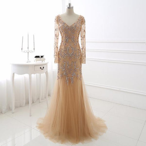 Mermaid Tulle Backless Long Sleeves Gold Evening Dress