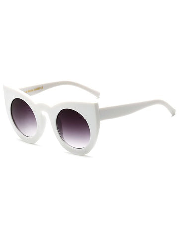 White Round Lens Cat Eye Sunglasses