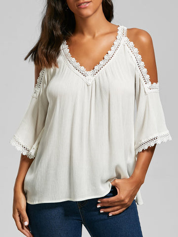 White Laced V Neck Cold Shoulder Top