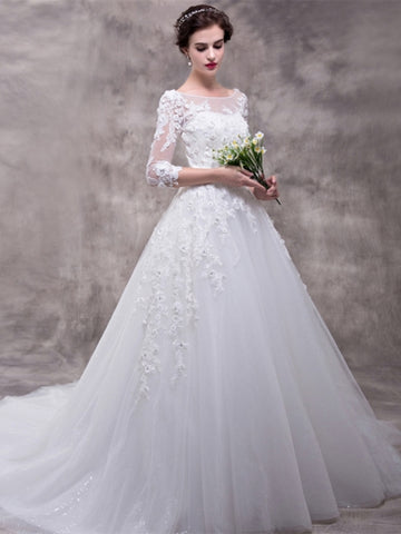Half Sleeves Appliques Court Train Wedding Dress