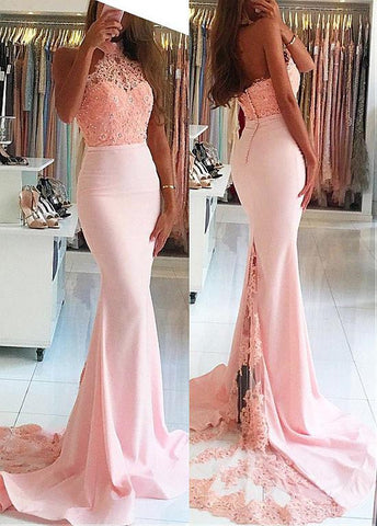 High Collar Neckline Mermaid Prom Dress