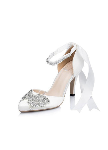 Chic Satin Upper Pointed Toe Stiletto Heels Wedding/ Bridal Party Shoes With Rhinestones