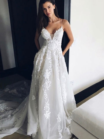 Lace Sexy Spaghetti Straps Appliques Court Train Wedding Dress