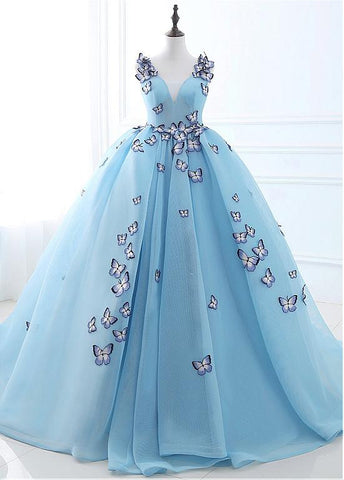 Ball Gown Prom Dresses With Embroidery Butterflies
