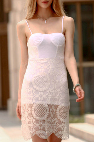 Whtie Chic Lace Slip Bodycon Dress
