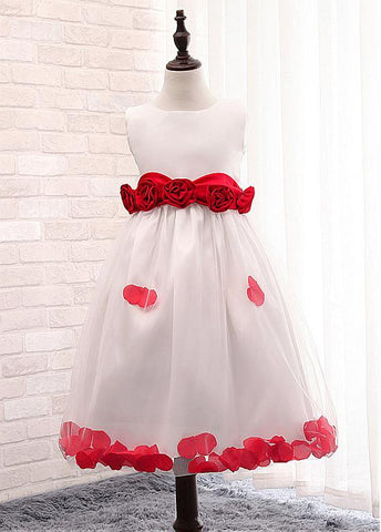 Fashionable Satin Jewel Neckline A-Line Flower Girl Dresses With Handmade Flowers
