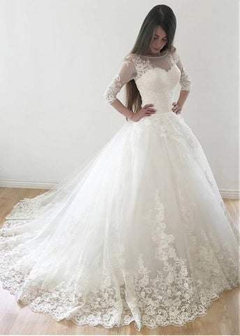 Tulle Bateau Long Sleeves Lace Appliques Ball Gown Wedding Dress