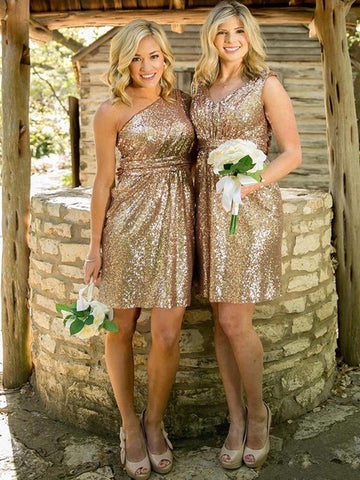 Gold Sequins Short Mini Bridesmaid Dress