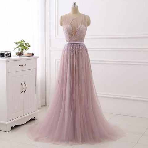 Spring Pink Beading Flower Tulle Scoop Prom Dress