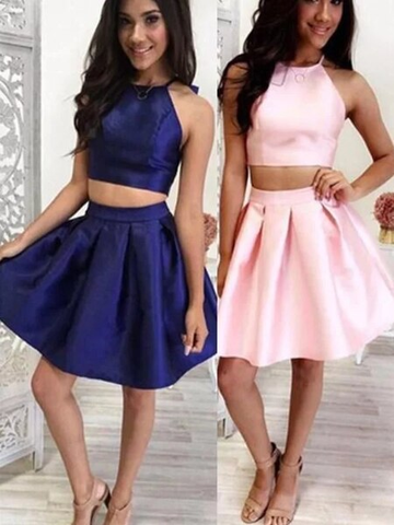 Halter Pink Short Mini A-Line Satin Ruffles Two Piece Homecoming Dress