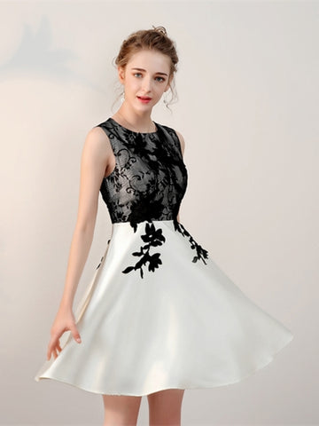 Cheap Scoop Appliques Lace Short Homecoming Dress