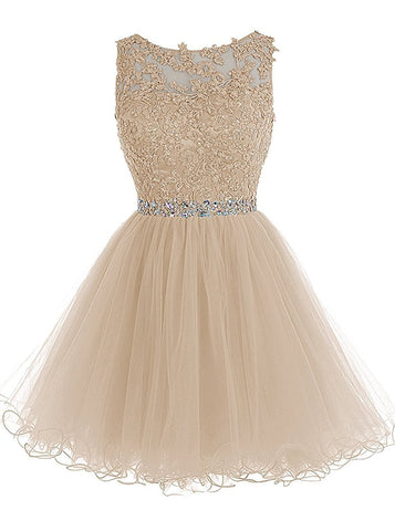 Lace Beaded Homecoming Dresses