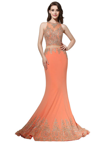 Fabulous Crystal Shuang Ma Jewel Neckline See-through Waist Mermaid Evening Dresses With Lace Appliques