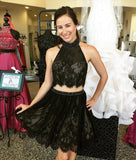 Black Halter Lace Two Piece Prom Dresses