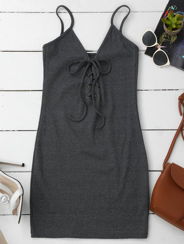 Gary Lace Up Cami Knit Bodycon Dress