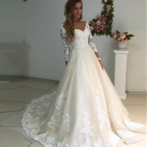 Off-the-Shoulder Long Sleeves Ivory Tulle Wedding Dress with Appliques