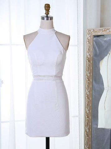 White Satin Bodycon High Neck Short  Homecoming Dress