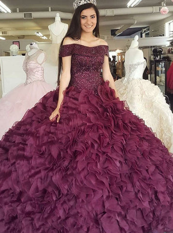 Burgundy Organza Ball Gown Off-the-Shoulder Quinceanera Dress with Beading