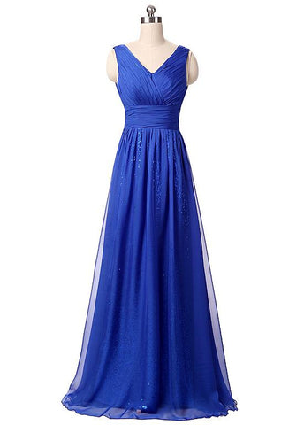 Royal Blue Elegant Chiffon & Sequin Lace V-Neck Neckline A-line Prom Dresses