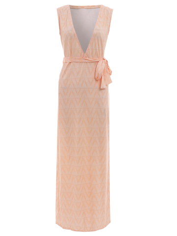 Sequin Zig Zag Print Plunging Neck Sleeveless Maxi Dress