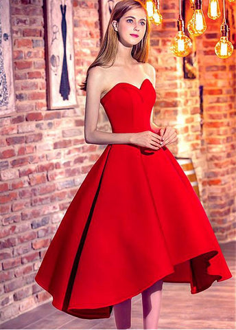 Satin Sweetheart Neckline Hi-lo Ball Gown Prom Dresses With Belt