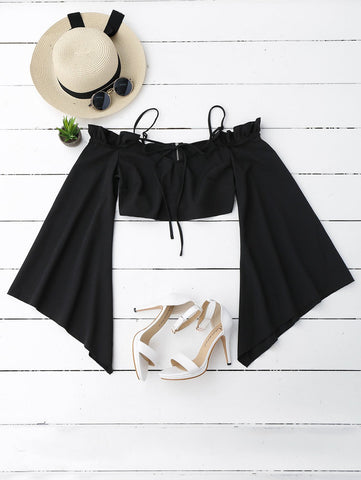 Black Ruffles Cropped Cold Shoulder Top