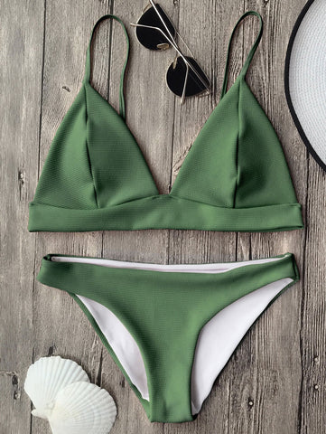 Green Cami Plunge Bralette Bikini Top And Bottoms