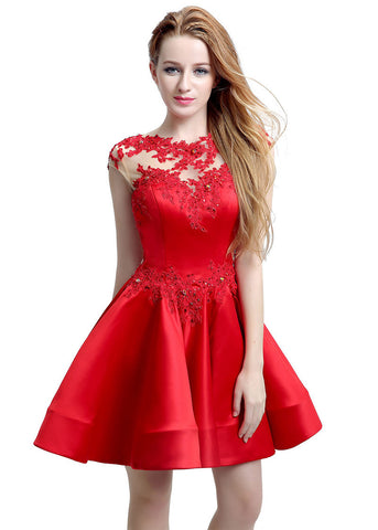 Stunning Satin & Tulle Jewel Neckline Cap Sleeves Short A-line Homecoming Dresses With Lace Appliques