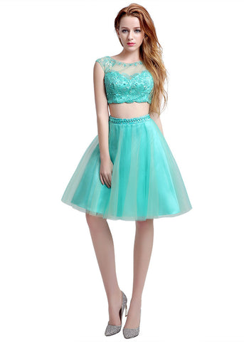Delicate Tulle Bateau Neckline Knee-length A-line Homecoming Dresses With Beadings