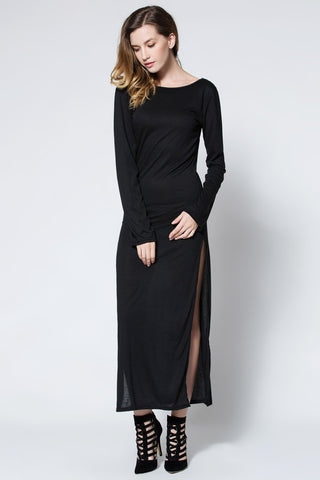Black Low Back High Slit Maxi Dress