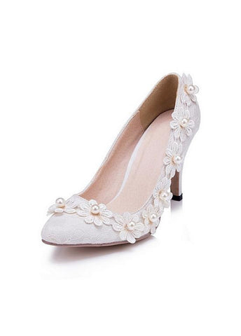 Sweet Lace Upper Closed Toe Stiletto Heels Wedding/ Bridal Party Shoes With Pearls & Lace Flowers
