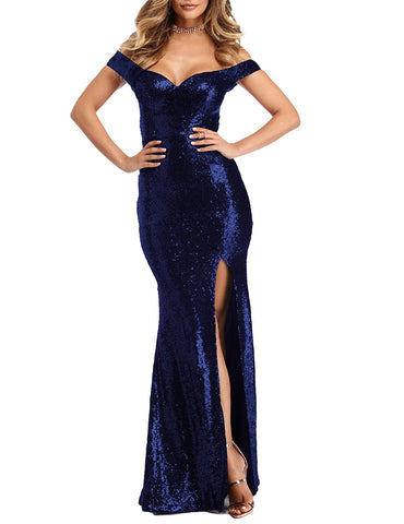 Off The Shoulder Blue Mermaid Prom Dress