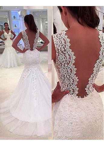 Lace V-neck Mermaid Wedding Dress
