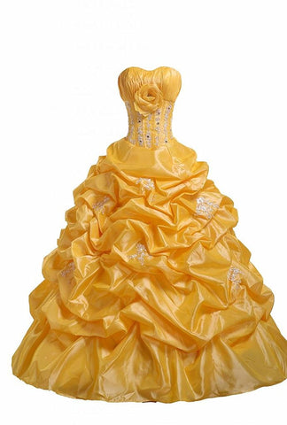 Yellow Pick-Ups Quinceanera Dress