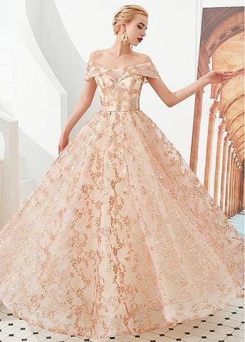 Gold Off The Shoulder Sequin Lace Long Evening Prom Dress
