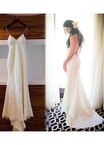 Lace Spaghetti Straps Neckline Open Back Mermaid Wedding Dress