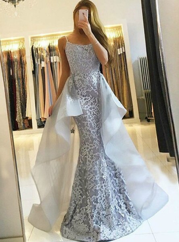 Lace Spaghetti Straps Silver Mermaid Sexy Gray Long Prom Dress