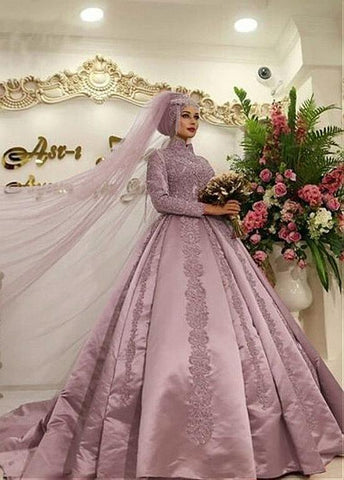 Long Sleeves Satin High Collar Ball Gown Arabic Islamic Wedding Dress