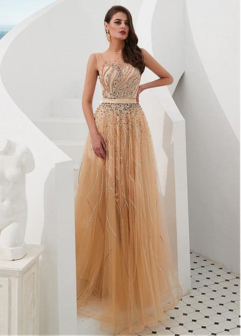 Tulle Jewel Champagne A-line Prom Dresses With Beading